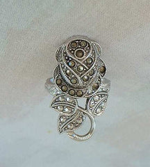 Clark and Coombs 18K EP Marcasite Ring Size 4.5 Mint Vintage Floral Jewelry