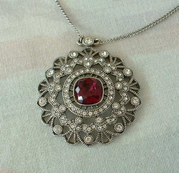 Givenchy Vintage Ruby Red Crystal Necklace Openwork Statement Signed Jewelry