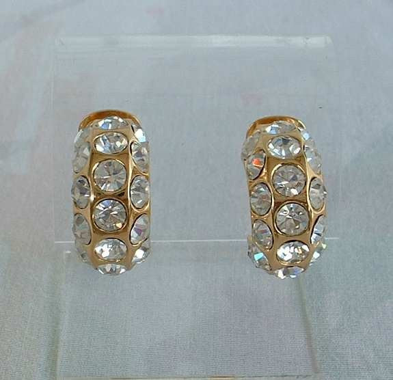 Christian DIOR Crystal Studded Earrings Clip On Huggies Signed