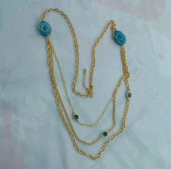 Triple Strand Wire Wrapped Blue Bead Chain Necklace Goldtone Jewelry