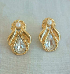 JS signed Angelic Crystal Earrings with Pearls Post Style Jewelry