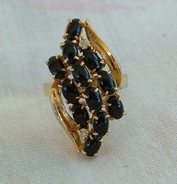 Black Glass Waterfall Cocktail Ring Size 5.5 Cabochons Vintage Jewelry