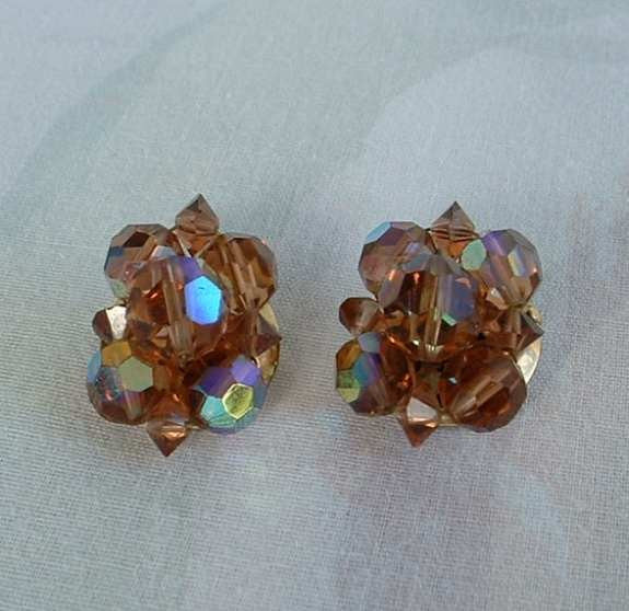 Iridescent Root Beer Watermelon AB Clip Earrings Cluster Aurora Borealis Vintage