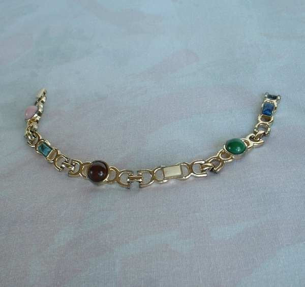 Sarah Coventry Unnamed Faux Gemstone Link Bracelet 1960s Vintage Jewelry