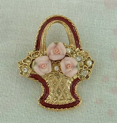 1928 Company Flower Pot Pin with Pink Roses Vintage Floral Figural Jewelry