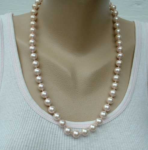 Lavender Faux Pearl Necklace 23 inches Vintage Wedding Jewelry