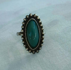 RCE Mexican Sterling Sliver Green Jade or Onyx Ring Size 7 Guadalajara Vintage