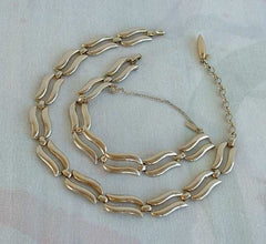 MONET Wavy Links Choker Necklace Bracelet Set Safety Chain Vintage Jewelry