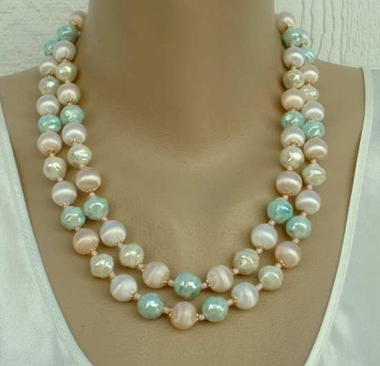 JAPAN Pastel Silk Glass Beads Necklace 2 Strands Green Pink White Opalescent