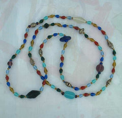 Long 60 inch Glass Bead Necklace Frosted Blue Red Beads Vintage Jewelry