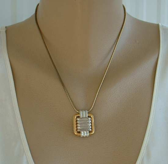 TRIFARI Slider Pendant Necklace Retro Goldtone Silvertone Geometric Vintage