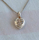 Sterling Silver Venetian Box Chain w Crystal Heart Pendant Vintage Jewelry
