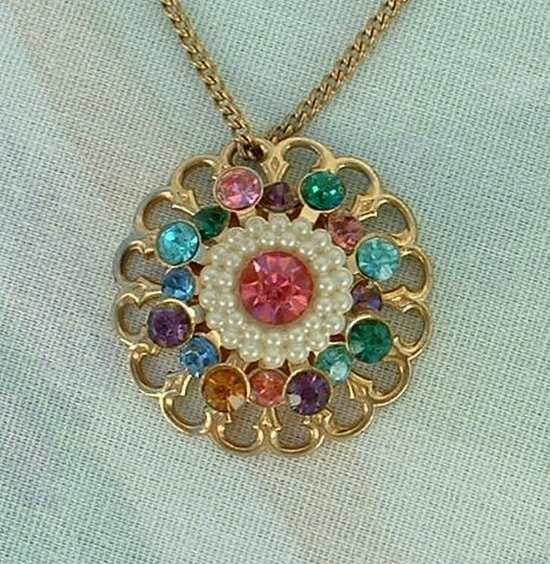 Multi Color Rhinestone Pink Seed Pearls Pendant Necklace Vintage Jewelry