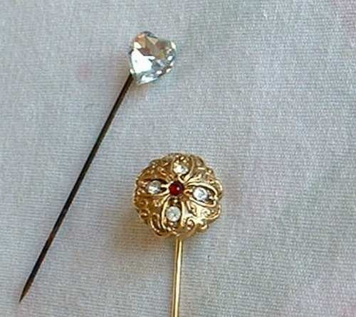 Two Vintage Stick Pins Heart Rhinestone Floral Design Vintage Jewelry
