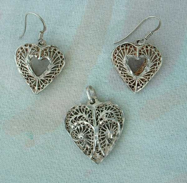 Sterling Silver Filigree Heart Set Pendant Earrings Vintage Sweetheart Jewelry