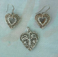 Sterling Silver Filigree Heart Set Pendant Pierced Earrings Vintage Jewelry