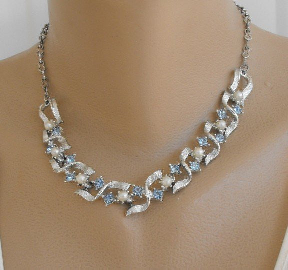 Aqua Blue Rhinestone Pearl Necklace Satin Finish Elegant Vintage Jewelry