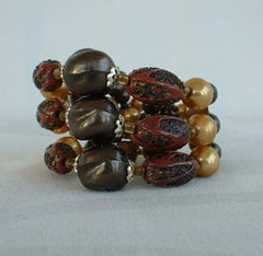 Earthtone Memory Coil Triple Strand Bracelet Unusual Beads Textured Art Vintage