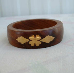 Inlaid Brass Wood Bangle Bracelet Clover Pattern Natural Vintage Jewelry