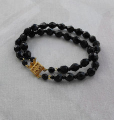 Black Faceted Glass Bead Double Strand Bracelet Fancy Clasp Jewelry