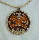 Libra Zodiac Necklace Scales of Justice Signed Large Pendant 1970s Jewelry