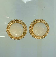 St John Knits Off White Button Clip On Earrings Glass Mint Designer Jewelry