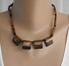 Brown Dyed Bone Square Fringe Necklace 18 Inches Earthtone Vintage Jewelry