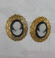 West Germany Cameo Black White Clip On Earrings Mourning Vintage Jewelry