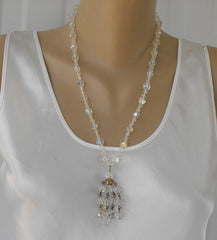 Crystal Waterfall Necklace AB Aurora Borealis Vintage Jewelry