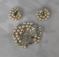 LISNER Pearl Filigree Set Brooch Clip Earrings Vintage Demi Jewelry