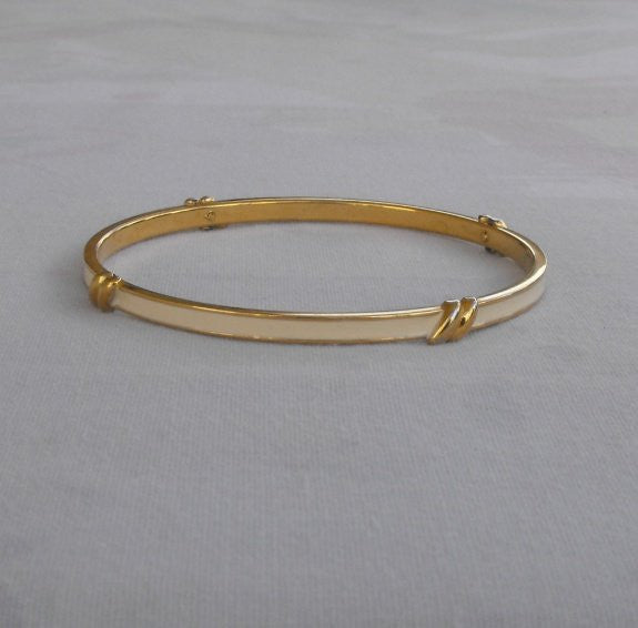 MONET Beige Enamel Bangle Bracelet w Goldtone Accents Designer Jewelry