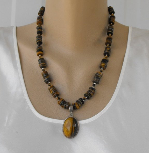 Genuine Tigers Eye Pendant Necklace Disk Beads Semi Precious Gemstone Jewelry