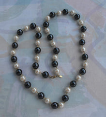 MONET Faux Pearl Gunmetal Gray Bead Necklace 35 Inches Long Vintage Jewelry