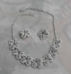 West Germany Eloxal Aluminum White Enamel Marcasite SET Vintage Jewelry