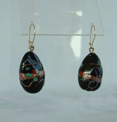 Lampwork Wedding Cake Style Dangle Earrings Black Blue Jewelry