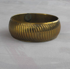 Brass Curved Ribs Bangle Bracelet Wide From India Vintage Jewelry