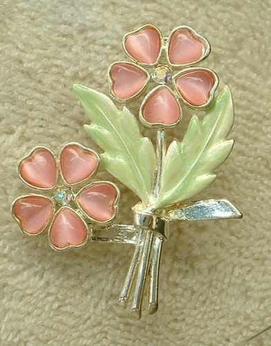 Kenneth Cole Floral Brooch Molded Glass