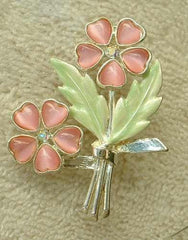 Cole Kenneth Floral Brooch Molded Glass Rhodium Plated Pink Green Jewelry