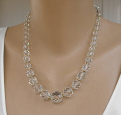 Simmons Probably Highly Faceted Glass Crystal Necklace Vintage Jewelry
