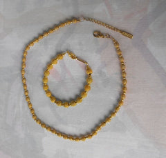NAPIER Goldtone Metal 'Mace' Bead SET Necklace Bracelet Designer Vintage 1960s Jewelry