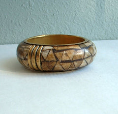 Heavy Wide Dyed Bone Mosaic Brass Bangle Bracelet Vintage Jewelry
