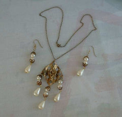 Art Deco Style Pearl Rhinestone SET Dangle Earrings Necklace Vintage Wedding Jewelry