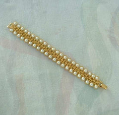 AVON Pearl Geometric Bracelet Art Deco Style Tulips Vintage Wedding Jewelry