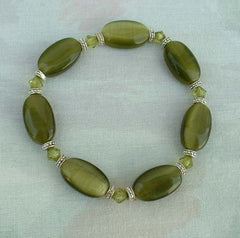 Olive Green Tigers Eye Glass Bead Expansion Bracelet Jewelry