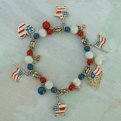 Independence Day Charm Bracelet Red White Blue Enamel Flags Stars Hearts Jewelry