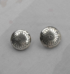 Sterling Silver Dome Earrings Post Style Floral Etched Pattern Vintage Jewelry