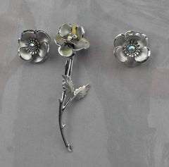 Long Flower Brooch Clip Earrings Married Set AB Rhinestones Vintage Jewelry