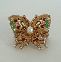 Butterfly Bolo Pendant Slider Rhinestones Pearl Vintage Jewelry
