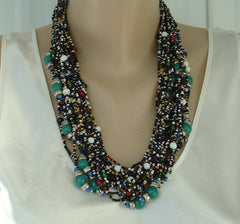 25 Strand Art Deco Seed Bead Necklace Multicolor Turquoise Glass Vtg Necklace
