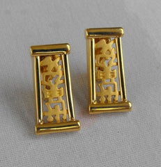 NAPIER 1950s Chinese Lampsticks Clip Earrings Book Piece Vintage Jewelry